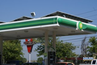 The Varsity in Atlanta, GA is a well-recognized Atlanta monument. Across the street is a BP station with a solar canopy.